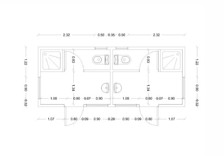 Containers bateria de ba o m dulo mixto espacio c bico - Modulos de bano ...